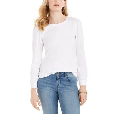 Charter Club Women's Supima Puff Sleeve Top White Size Medium