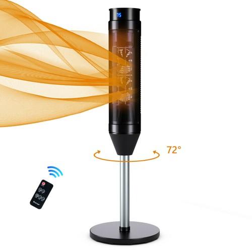 Costway 1500W Portable Oscillating Ceramic Pedestal Heater w/ Timer Remote