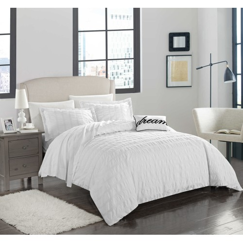 Chic Home 4 Pc Saratoga 100%Cotton Casual Ruffled & Pleated Duvet Cover Set
