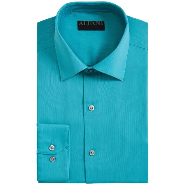 Alfani AlfaTech Bedford Cord Regular Fit Dress Turquouise Shirt 14x32-33
