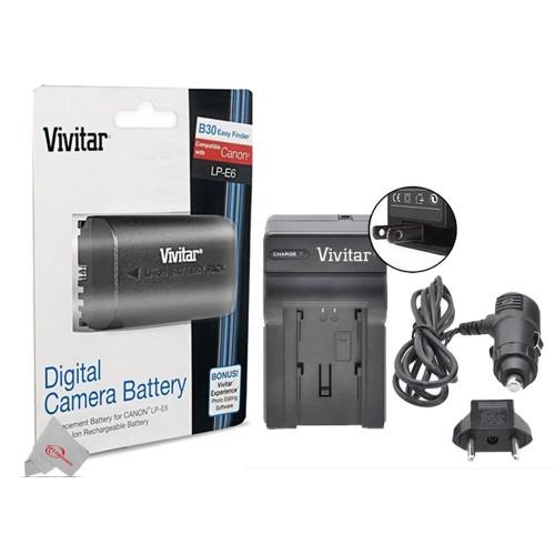 Replacement Battery for Canon LP-E6 + Vivitar LC-E6 Replacement Rapid Charger for Canon LP-E6 For 90D 80D 5D 6D 7D