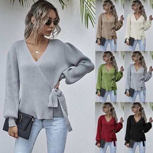 Women's Casual V-Neck Waistband Sweater