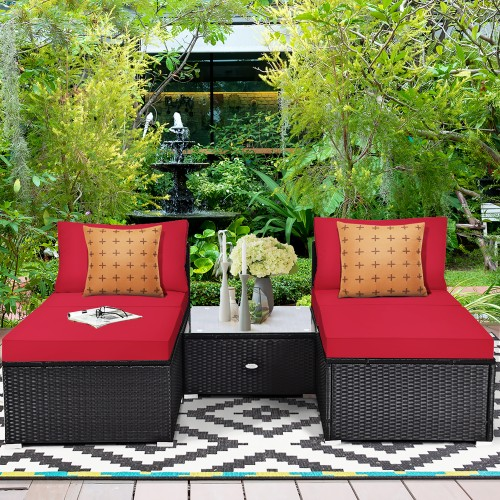 Costway 5PCS Patio Rattan Wicker Furniture Set Armless Sofa Cushioned Red\T
