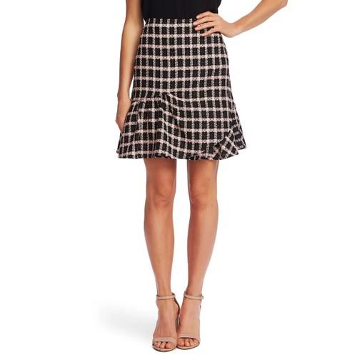Cece Women's Grid Tweed Asmymmetrical Ruffle Skirt Gray Size 4