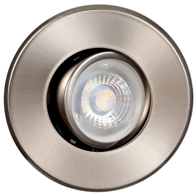 """Globe Electric Dimmable LED Directional 3"""" Nickel Recessed Kit Ceiling"""