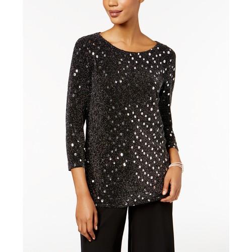 MSK Women's Petite Metallic-Dot Top Black Size Medium