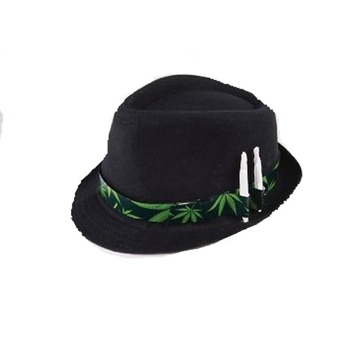 Marijuana Leaf Black Fedora With Joint Holder