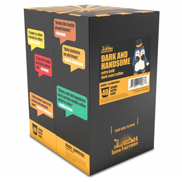 Java Factory Dark Roast Coffee Pods, Hello Darkness, 40 Count