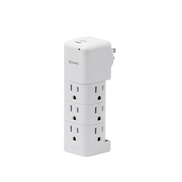Aduro Surge Wall Charging Tower w/ 9 Outlets & Dual USB Ports