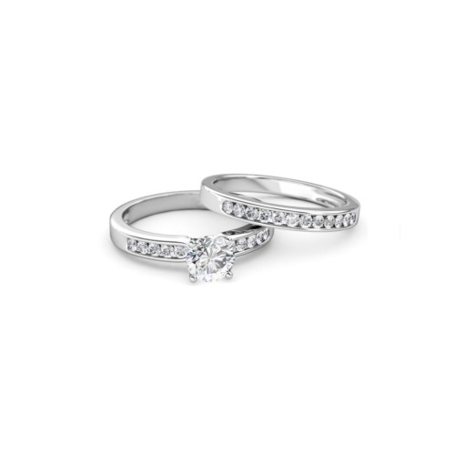 Sterling Silver 2pc Set- Round Simulated Diamonds Engagement & Wedding Band Rings Set Sizes-6,7,8