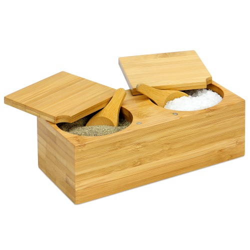 Bamboo Spice Salt and Pepper Box (with 2 spoons) | MandW