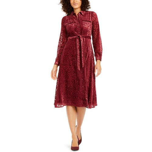 Alfani Women's Velvet Burnout Belted Shirtdress Wine Size 4