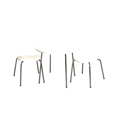 Childrens Table And 2 Chair Set With Chrome Legs (White Color Chairs)