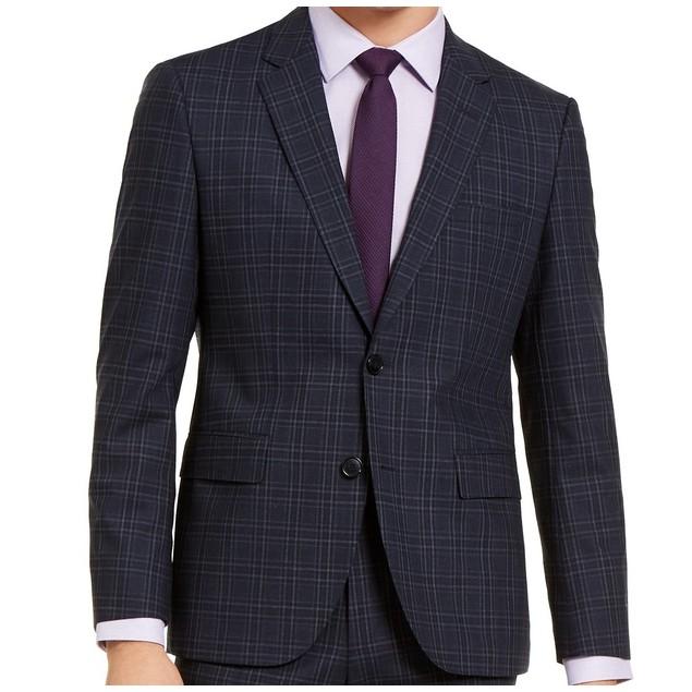 Hugo Boss Men's Modern-Fit Stretch Dark Blue Plaid Suit Jacket Blue Size 36