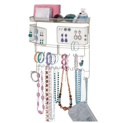 mDesign Wall Mount Jewelry Accessory Holder - Satin