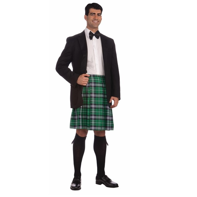 Green Kilt Plaid Tartan Scottish Irish Gentleman Adult Mens Black Watch