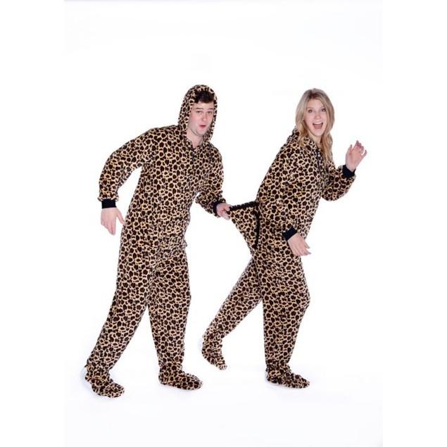 Leopard Plush Hooded Adult Footed Pajamas Footie Drop Seat Mens Womens PJs