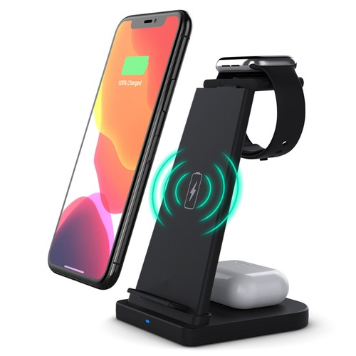 3-in-1 Wireless Fast Charging Station Compatible with Qi Devices