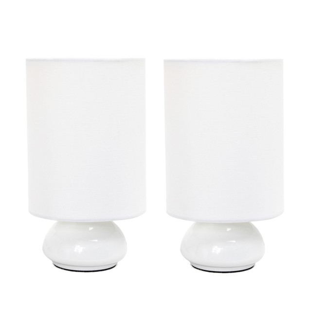 Gemini Colors 2 Pack Mini Touch Table Lamp Set with Fabric Shades