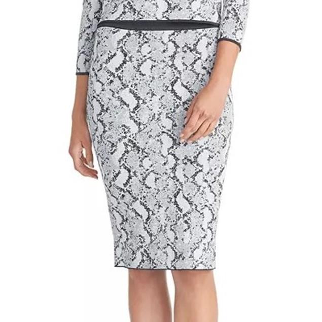 Rachel Roy Women's Lindey Printed Sweater Skirt Gray Size Medium