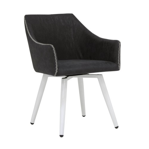 Offex Swivel, Home Office Accent Chair with Arms in White Metal Legs - White, Dark Grey