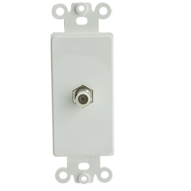 Decora Wall Plate Insert, White, F-pin Coaxial Coupler, F-Pin Female