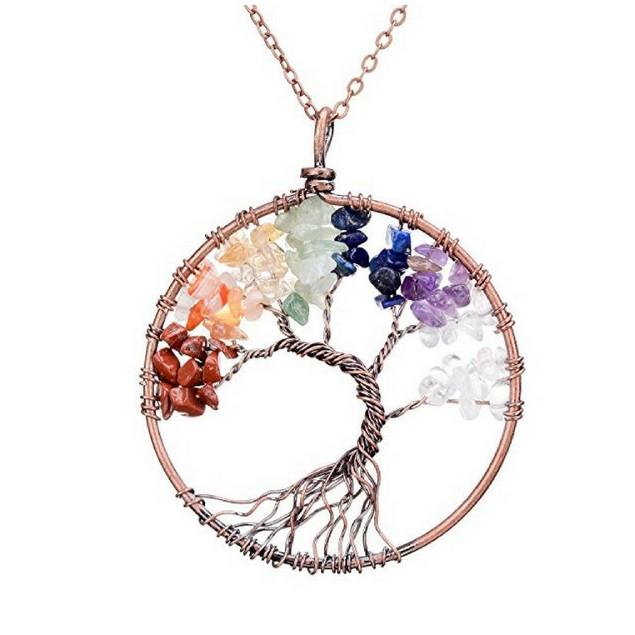 Handmade Genuine Gemstone Chakra Tree of Life Pendant Necklace