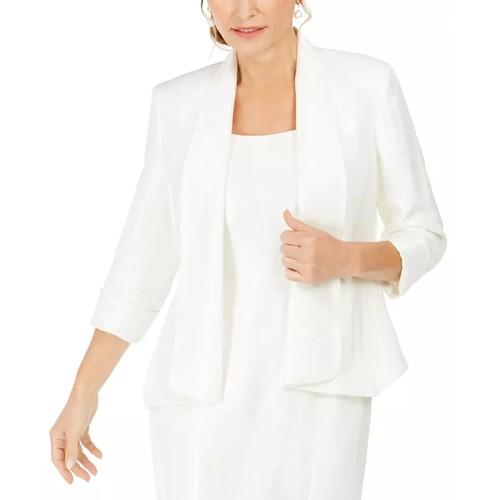 Kasper Women's Shawl-Collar Open-Front Blazer White Size 10