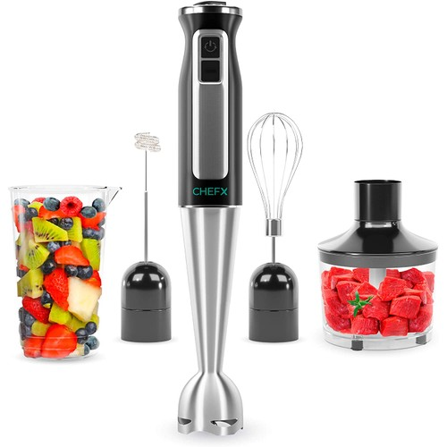 CHEFX 5-in-1 Immersion Blender - 9 Speed Ultra Powerful Stainless Steel Hand Mixer - Chop/Grind/Whisk/Froth/Blend + Food Grinder & Container