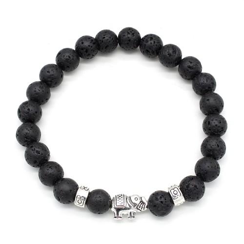 Lava Stone Lucky Elephant Bracelet