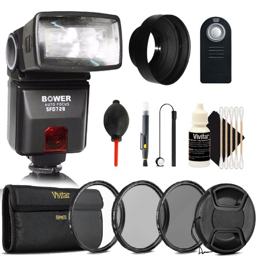 SFD728 Automatic TTL Flash for Canon i-TTL + 58mm UV CPL ND Kit + Rubber Hood + Remote Control + Lens Cleaner + Dust Blower + 3pc Cleaning Kit
