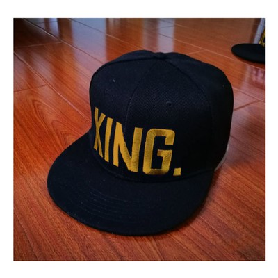 King Gold Letters Black Baseball Cap Queen Couples Hats KING. QUEEN. Love