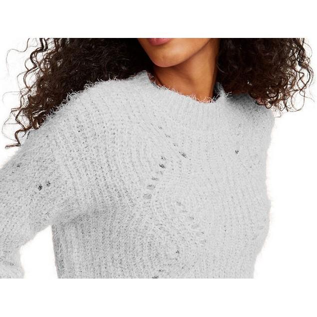 Freshman Juniors' Pointelle Chenille Sweater Black Size X-Large