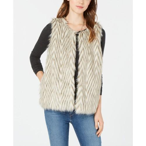 Say What? Juniors' Faux-Fur Vest Ivory  Size Large