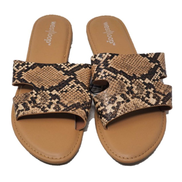 West Loop Women's Faux Leather Sandal with Snake Pattern, Size, Medium 7/8