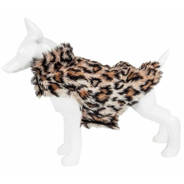 Pet Life Luxe 'Lab-Pard' Leopard Patterned Mink Fur Dog Coat Jacket