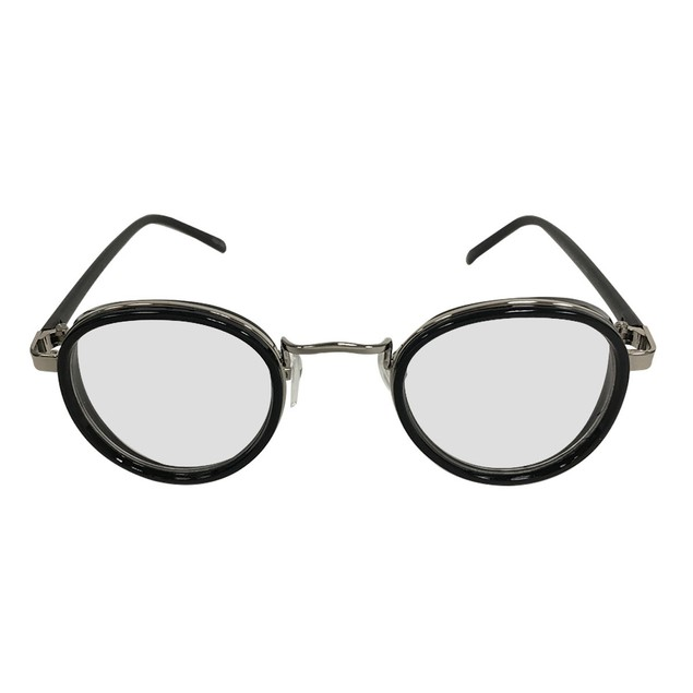 Black on Silver Clear Lens With Side Shield Sunglasses
