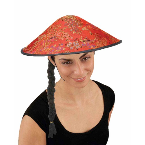 Pointed Fabric Coolie Hat With Braid