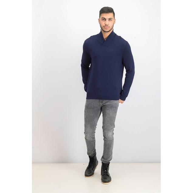 Tasso Elba Men's Contrast Shawl-Collar Cotton Sweater Dark Blue Size Medium
