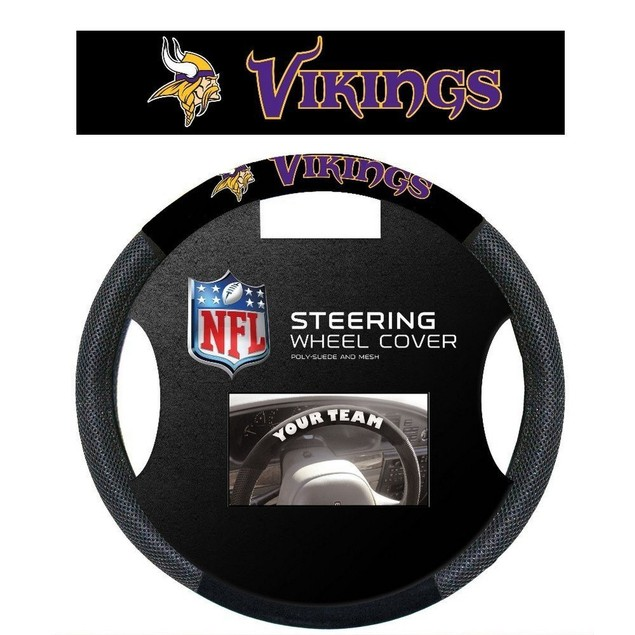Minnesota Vikings Steering Wheel Cover NFL Football Team Logo Poly Mesh