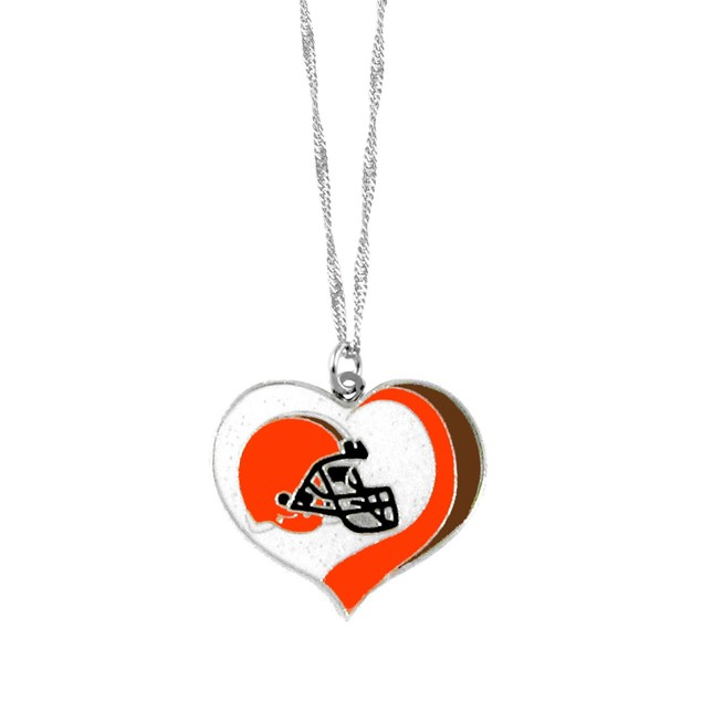Cleveland Browns NFL Glitter Heart Necklace Charm Gift