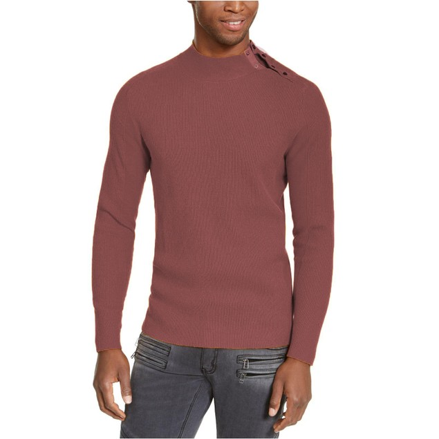 INC International Concepts Ribbed Button Neck Sweater Friar 3 Extra Large