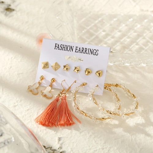Summer Gold and Peach Earring Set
