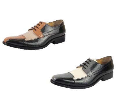 LibertyZeno Men's oxford dress shoes Black/Grey and Brown/Tan Lace-Up Shoes Was: $99.99 Now: $43.99.