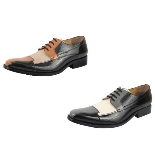 LibertyZeno Men's oxford dress shoes Black/Grey and Brown/Tan Lace-Up Shoes