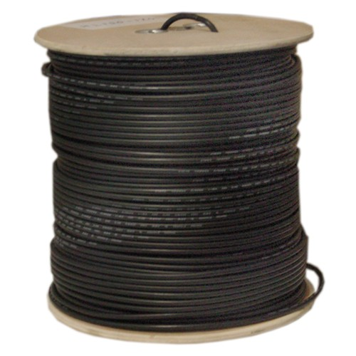 Bulk RG6 Coaxial Cable, Black, 18 AWG, Solid Core, Spool, 1000 foot
