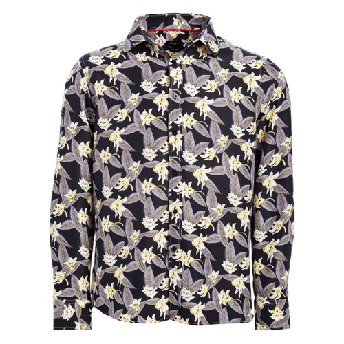 Rosso Milano Modern Fit Long Sleeve White Floral Dress Shirt