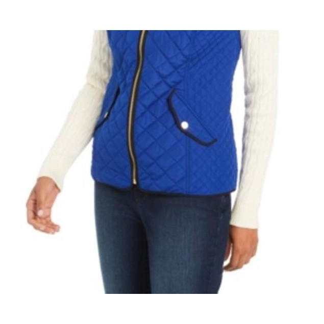 Charter Club Women's Quilted Stand-Collar Vest Med Blue Size Large