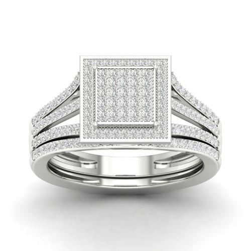 De Couer S925 Sterling Silver 3/8ct TDW Diamond Halo Bridal Set (I-J, I2)