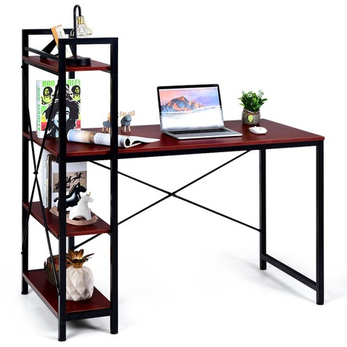 Costway 47.5'' Compact Computer Desk With 4-Tier Storage Bookshelves for Ho